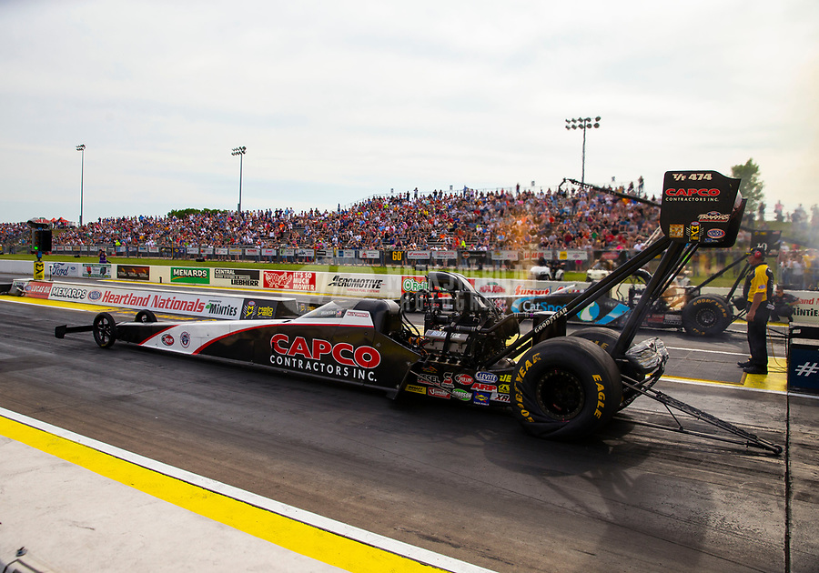 May 18, 2018; Topeka, KS, USA; NHRA top fuel driver Billy Torrence during qualifying for the Heartland Nationals at Heartland Motorsports Park. Mandatory Credit: Mark J. Rebilas-USA TODAY Sports