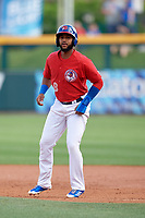 Buffalo Bisons shortstop Richard Urena (8) leads off first base during a game against the Lehigh Valley IronPigs on June 23, 2018 at Coca-Cola Field in Buffalo, New York.  Lehigh Valley defeated Buffalo 4-1.  (Mike Janes/Four Seam Images)