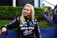 May 1, 2016; Baytown, TX, USA; NHRA funny car driver Courtney Force during the Spring Nationals at Royal Purple Raceway. Mandatory Credit: Mark J. Rebilas-USA TODAY Sports