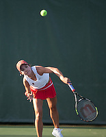 STANFORD, CA - January 26, 2011: Hilary Barte of Stanford women's tennis during her match with Stacey Tan against UC Davis' Chui/Heneghan. Barte/Tan won 8-2.