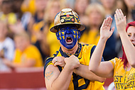 Landover, MD - SEPT 3, 2017: A West Virginia Mountaineers fan celebrates a big play during the game between West Virginia and Virginia Tech at FedEx Field in Landover, MD. (Photo by Phil Peters/Media Images International)