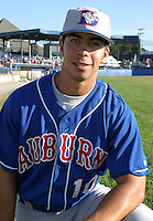 July 19, 2003:  Carlo Cota (10) of the Auburn Doubledays, Class-A affiliate of the Toronto Blue Jays, during a game at Dwyer Stadium in Batavia, NY.  Photo by:  Mike Janes/Four Seam Images