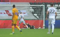 Preston North End's Declan Rudd saves the penalty from Swansea City's Oliver McBurnie's <br /> <br /> Photographer Kevin Barnes/CameraSport<br /> <br /> The EFL Sky Bet Championship - Swansea City v Preston North End - Saturday August 11th 2018 - Liberty Stadium - Swansea<br /> <br /> World Copyright &copy; 2018 CameraSport. All rights reserved. 43 Linden Ave. Countesthorpe. Leicester. England. LE8 5PG - Tel: +44 (0) 116 277 4147 - admin@camerasport.com - www.camerasport.com