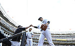 Masahiro Tanaka (Yankees), JULY 23, 2015 - MLB : New York Yankees starting pitcher Masahiro Tanaka shares a fist pump with his teammates in the seventh inning during a baseball game against the Baltimore Orioles at Yankee Stadium in New York, United States. (Photo by AFLO)