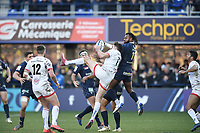 11th January 2020, Parc des Sports Marcel Michelin, Clermont-Ferrand, Auvergne-Rhône-Alpes, France; European Champions Cup Rugby Union, ASM Clermont versus Ulster;  Alivereti Raka (asm) and Jacob Stockdale (ulster) compete for the kicked ahead ball