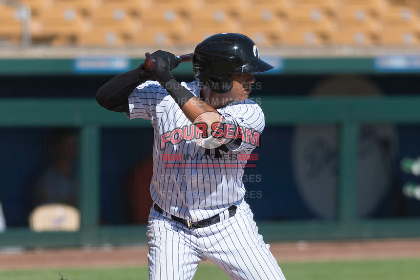 Glendale Desert Dogs shortstop Thairo Estrada (90), of the New York Yankees organization, at bat during an Arizona Fall League game against the Mesa Solar Sox at Camelback Ranch on October 15, 2018 in Glendale, Arizona. Mesa defeated Glendale 8-0. (Zachary Lucy/Four Seam Images)