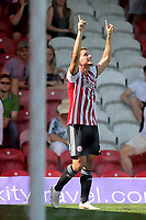 Sergi Canos celebrates scoring Brentford's second goal during Brentford vs Rotherham United, Sky Bet EFL Championship Football at Griffin Park on 4th August 2018