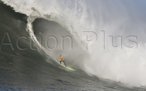 Zack Wormhoudt competes in the.2010 Mavericks Surf Contest, Saturday, Feb. 13, 2010, Half Moon Bay, California..Photo: John Todd/Actionplus. UK Editorial Use Only.