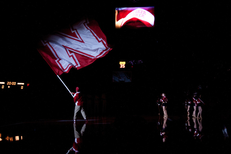 31 December 2011: Introductions before the Nebraska Cornhuskers take on the Michigan State Spartans at the Devaney Sports Center in Lincoln, Nebraska. Michigan State defeated Nebraska 68 to 55.