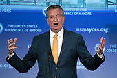 Mayor Bill de Blasio (Democrat of New York, NY) makes remarks at a plenary session of the United States Conference of Mayors in Washington, DC on Thursday, January 25, 2018.<br /> Credit: Ron Sachs / CNP<br /> (RESTRICTION: NO New York or New Jersey Newspapers or newspapers within a 75 mile radius of New York City)