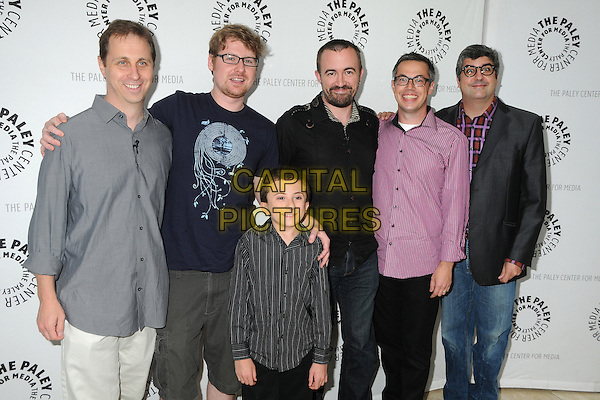 "Jon Weisman, Justin Roiland, Atticus Shaffer, Maxwell Atoms, Noah Z. Jones and Dana Snyder.PaleyFest Family 2011 Presents Disney's ""Fish Hooks"" held at The Paley Center for Media, Beverly Hills, CA, USA, 13th August 2011..half length grey gray shirt  blue t-shirt pink black checked jeans .CAP/ADM/BP.©Byron Purvis/AdMedia/Capital Pictures."
