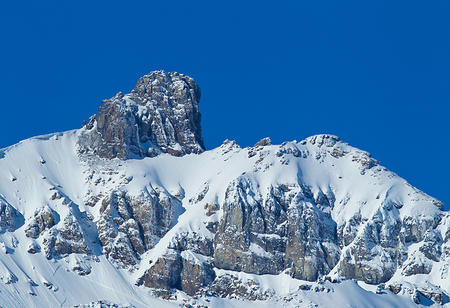 A rocky peak seen on a clear blue-sky day in Jasper National Park, Alberta Canada, on Feb 1, 2011.  Photo by Gus Curtis