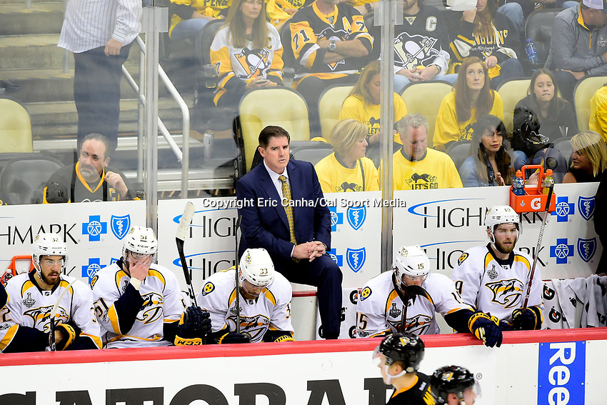June 8, 2017: Nashville Predators head coach Peter Laviolette watches the action on the ice during game five of the National Hockey League Stanley Cup Finals between the Nashville Predators  and the Pittsburgh Penguins, held at PPG Paints Arena, in Pittsburgh, PA. Pittsburgh defeats Nashville 6-0 to lead the series 3-2. Eric Canha/CSM