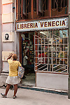 Havana, Cuba; the front facade of a bookstore along Calle Obispo