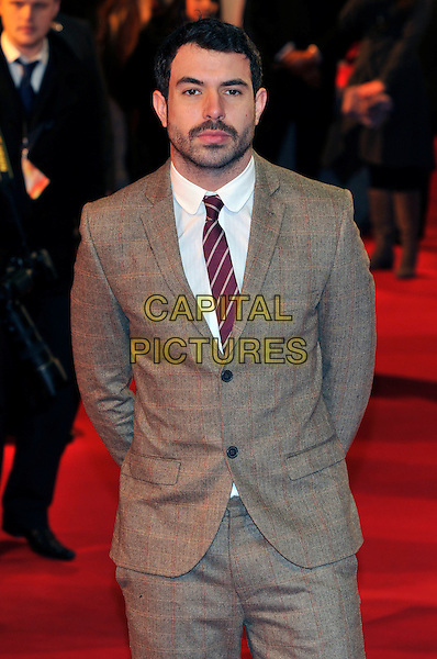 Tom Cullen.UK Premiere of 'War Horse' at the Odeon, Leicester Square, London, England..January 8th 2012.half length grey gray suit brown tweed red tie beard facial hair white shirt .CAP/PL.©Phil Loftus/Capital Pictures.