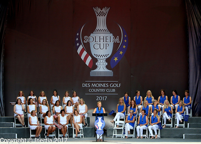 DES MOINES, IA - AUGUST 17: Europe captain Annika Sorenstam addresses the crowd during the opening ceremony at the 2017 Solheim Cup in Des Moines, IA. (Photo by Dave Eggen/Inertia)