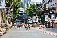 Singapore, Orchard Road Street Scene with Pedestrians.
