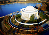 Aerial view of the Jefferson Memorial, and Tidal Basin in Washington DC
