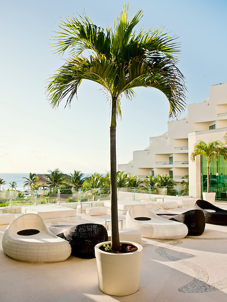 The outdoor lounge terrace of Egos bar at Live Aqua Resort & Spa, a 371-room luxury all-inclusive hotel in Cancun's Hotel Zone. Cancun, Quintana Roo, Mexico.