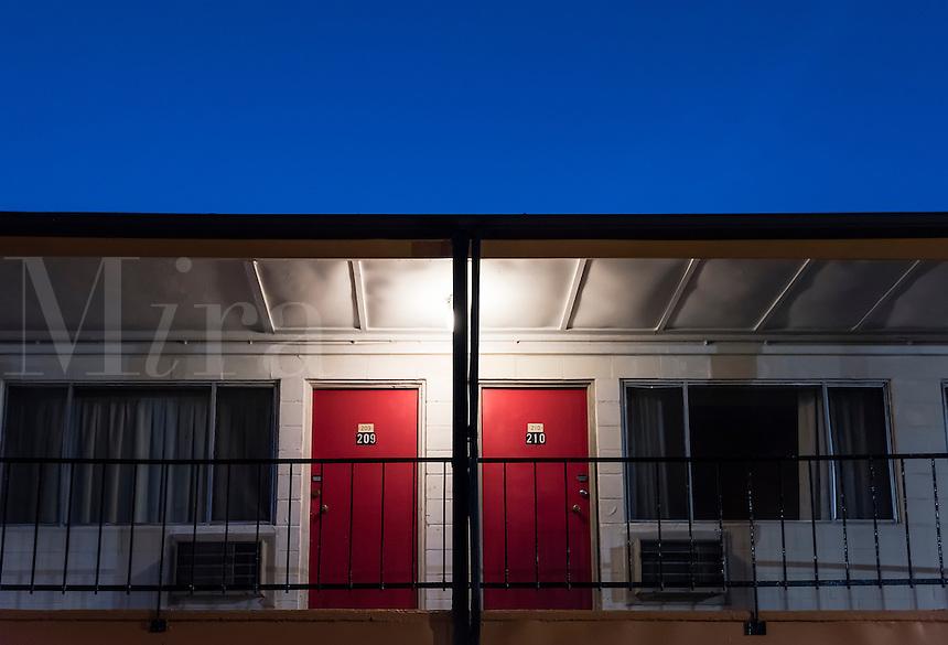Cheap motel room doors.