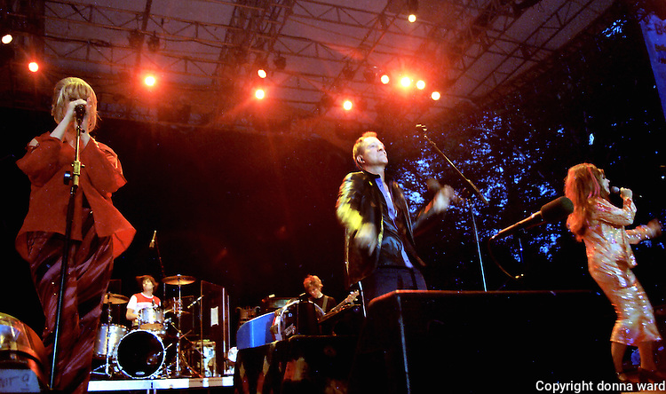 The B-52s perform at SummerStage in Central Park on June 26, 2002.