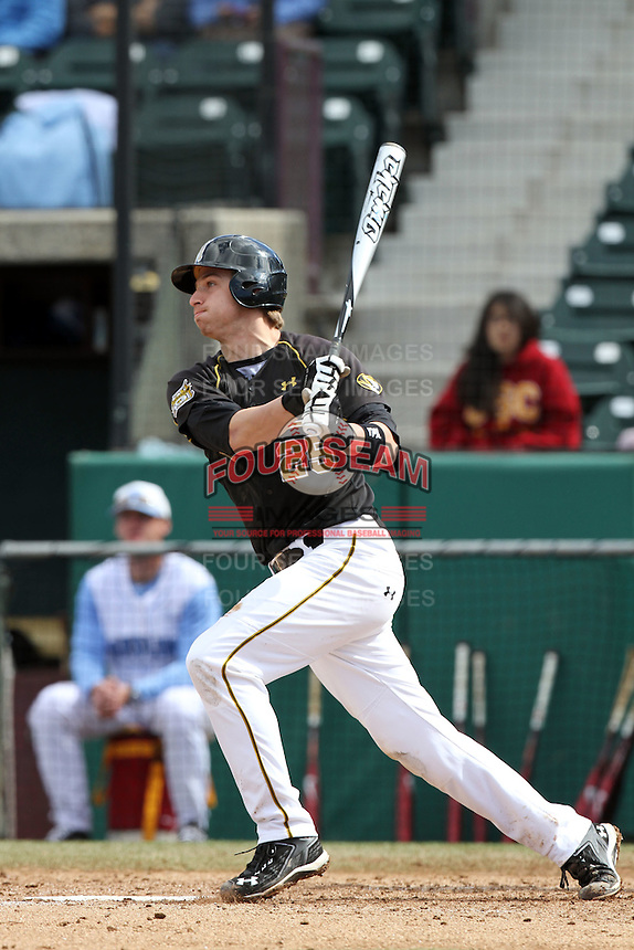 Jonah Schmidt, #25, of the Missouri Tigers bats against the North Carolina Tar Heels at Dedeaux Field on February 20, 2011 in Los Angeles,California. Photo by Larry Goren/Four Seam Images