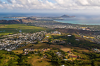 Kailua town, Windward (East) side of Oahu, Hawaii from Mt. Olomana