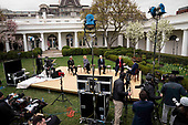 United States President Donald J. Trump, right, and US Vice President Mike Pence, center right, participate in a Fox News Virtual Town Hall with Anchor Bill Hemmer, in the Rose Garden of the White House in Washington, DC, Tuesday, March, 24, 2020. Looking on are US Surgeon General Vice Admiral (VADM) Jerome M. Adams, M.D., M.P.H., left, and Dr. Deborah L. Birx, White House Coronavirus Response Coordinator, center left,<br /> Credit: Doug Mills / Pool via CNP