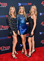 """LOS ANGELES, USA. August 14, 2019: Scarlet Stallone, Sistine Stallone & Sophia Stallone at the premiere of """"47 Meters Down: Uncaged"""" at the Regency Village Theatre.<br /> Picture: Paul Smith/Featureflash"""