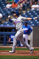Midland RockHounds shortstop Chad Pinder (10) at bat during a game against the Tulsa Drillers on June 3, 2015 at Oneok Field in Tulsa, Oklahoma.  Midland defeated Tulsa 5-3.  (Mike Janes/Four Seam Images)