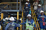 MUFULIRA, ZAMBIA- JULY 6: Mine workers arrive from an 8-hour shift mining copper in one of the underground shafts at Mopani on July 6, 2016. Glencore, an Anglo-Swiss multinational commodity trading and mining company, owns about 73 % of the mine, which produces copper and some cobalt. The mine employs about 15,000 people. (Photo by Per-Anders Pettersson)
