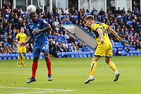 GOAL - Josh Ruffels of Oxford United (right) scores his team's first goal of the game to make the score 1-1 during the Sky Bet League 1 match between Peterborough and Oxford United at the ABAX Stadium, London Road, Peterborough, England on 30 September 2017. Photo by David Horn.