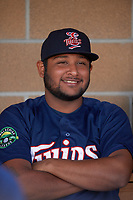 Elizabethton Twins Robert Molina (32) in the dugout before a game against the Bristol Pirates on July 28, 2018 at Joe O'Brien Field in Elizabethton, Tennessee.  Elizabethton defeated Bristol 5-0.  (Mike Janes/Four Seam Images)
