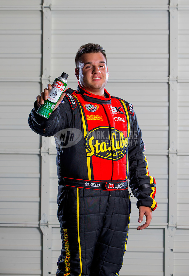 Aug 26, 2015; Glendale, AZ, USA; NHRA top alcohol funny car driver Stefan Kontos during a portrait shoot. Mandatory Credit: Mark J. Rebilas-