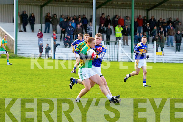 St. Senan's in Blue vs Knocknagoshel in Green.  Saturday in O'Sullivan's Park, Finuge.  Pictured here is the first goal of the match, which was won by Paudie Quille (15) of St. Senan's.