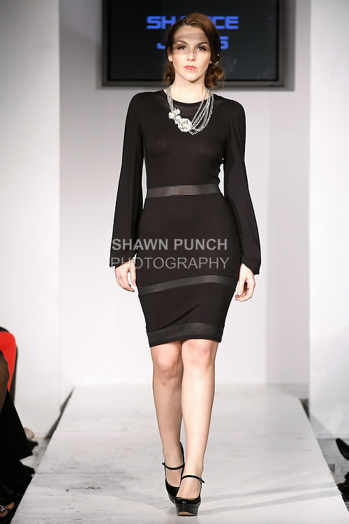 Model walks runway in an outfit from the Shanice Jones Collection Fall/Winter 2012-2013 by Shanice Jones, during BK Fashion Weekend Fall Winter 2012.
