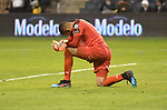 Independiente goalkeeper Jose Guerra hangs his head after he was scored on three times in the second half.  Sporting KC defeated Club Atletico Independiente 3-0 in a CONCACAF Champions League quarterfinal game at Children's Mercy Park on March 14, 2019.
