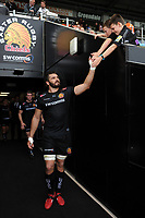 Don Armand of Exeter Chiefs high-fives young supporters. Gallagher Premiership match, between Exeter Chiefs and Leicester Tigers on September 1, 2018 at Sandy Park in Exeter, England. Photo by: Patrick Khachfe / JMP