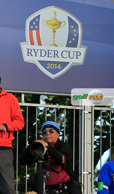Ken Dennis (Golffile photographer USA) on the 1st tee during the Saturday Fourball Matches of the Ryder Cup at Gleneagles Golf Club on Saturday 27th September 2014.<br /> Picture:  Thos Caffrey / www.golffile.ie
