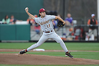 Florida State Seminoles starting pitcher Mike Compton #17 delivers a pitch during a game against the Clemson Tigers at Doug Kingsmore Stadium on March 22, 2014 in Clemson, South Carolina. The Seminoles defeated the Tigers 4-3. (Tony Farlow/Four Seam Images)