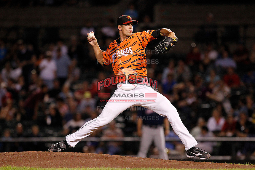 Rochester Red Wings pitcher Kyle Waldrop #27 delivers a pitch during a game against the Pawtucket Red Sox at Frontier Field on August 30, 2011 in Rochester, New York.  Rochester defeated Pawtucket 8-6 as the team wore special jerseys to be auctioned off after the game to benefit the zoo.  (Mike Janes/Four Seam Images)