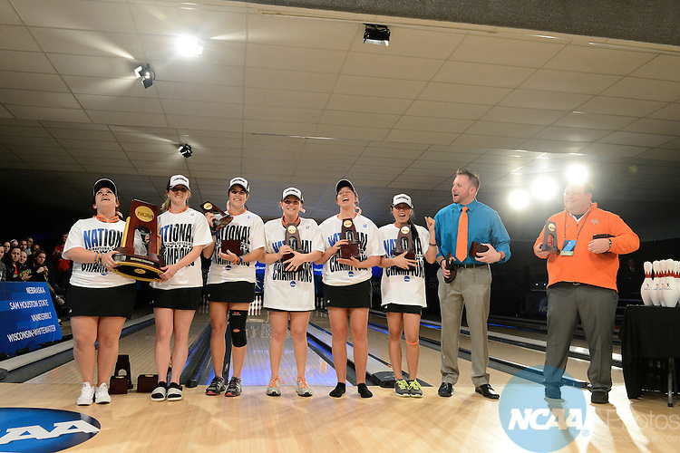 12 APR 2014:  The Bearkats from Sam Houston State University celebrate their victory following the Division I Women's Bowling Championship held at Game of Wickliffe in Wickliffe, OH.  Sam Houston State University defeated Nebraska 4-2 for the national title.  Eric Mull/NCAA Photos