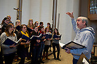 January 15, 2012; Steven C. Warner, director of the University of Notre Dame Folk Choir during rehearsal. The Folk Choir held a  concert for the Monastic and local community during their 2012 retreat at The Abbey of Gethsemani, Trappist, Kentucky. Photo by Barbara Johnston/University of Notre Dame