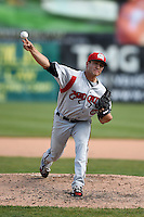 Carolina Mudcats pitcher Jacob Lee (37) during a game against the Frederick Keys on April 26, 2014 at Harry Grove Stadium in Frederick, Maryland.  Carolina defeated Frederick 4-2.  (Mike Janes/Four Seam Images)