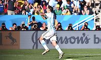 FUSSBALL WM 2014                ACHTELFINALE Argentinien - Schweiz                  01.07.2014 Angel di Maria (Argentinien) bejubelt seinen Tor zum 1:0