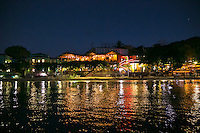 Wharfside Village at night<br /> Cruz Bay, St. John<br /> US Virgin Islands