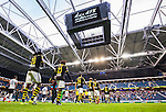 Stockholm 2015-07-30 Fotboll Kval Uefa Europa League  AIK - Atromitos FC :  <br /> AIK:s Dickson Etuhu , Mohamed Bangura , Stefan Ishizaki med lagkamrater g&aring;r in p&aring; planen p&aring; Friends Arena inf&ouml;r matchen mellan AIK och Atromitos FC <br /> (Foto: Kenta J&ouml;nsson) Nyckelord:  AIK Gnaget Tele2 Arena UEFA Europa League Kval Kvalmatch Atromitos FC Grekland Greece inomhus interi&ouml;r interior supporter fans publik supporters