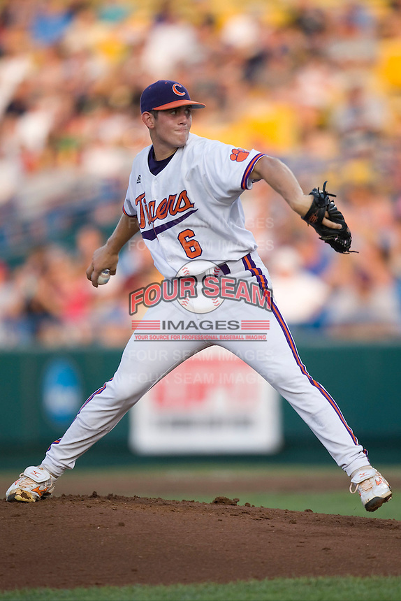 Clemson starting pitcher Dominic Leone in Game 12 of the NCAA Division One Men's College World Series on June 25th, 2010 at Johnny Rosenblatt Stadium in Omaha, Nebraska.  (Photo by Andrew Woolley / Four Seam Images)