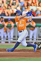 Tennessee Smokies Nico Hoerner (5) swings at a pitch during a game against the Biloxi Shuckers on August 10, 2019 in Kodak, Tennessee. The Shuckers defeated the Smokies 7-3. (Tony Farlow/Four Seam Images)