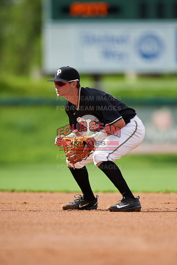 Pittsburgh Panthers second baseman Alex Amos (14) during a game against the Siena Saints on February 24, 2017 at Historic Dodgertown in Vero Beach, Florida.  Pittsburgh defeated Siena 8-2.  (Mike Janes/Four Seam Images)